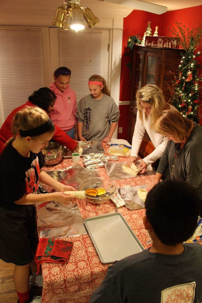 The burrito assembly line with different specialties